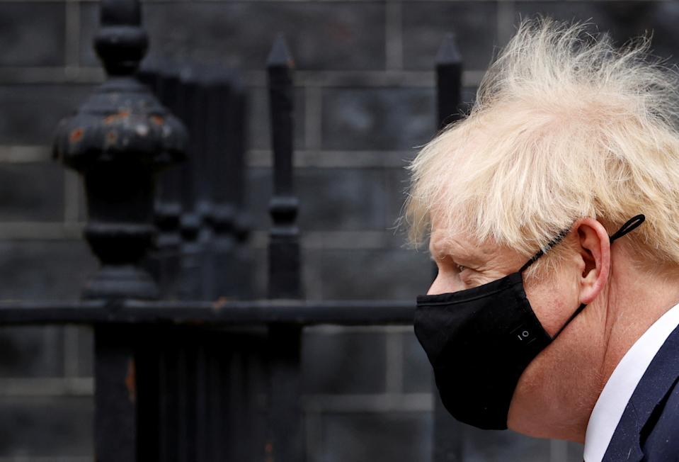 Britain's Prime Minister Boris Johnson leaves Downing Street, in London, Britain October 7, 2020. REUTERS/John Sibley     TPX IMAGES OF THE DAY