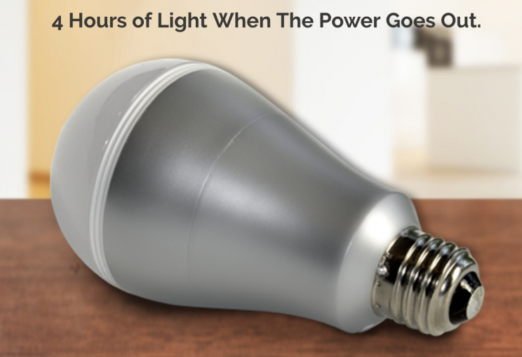 The Smart Charge light bulb stays on even in a power failure.