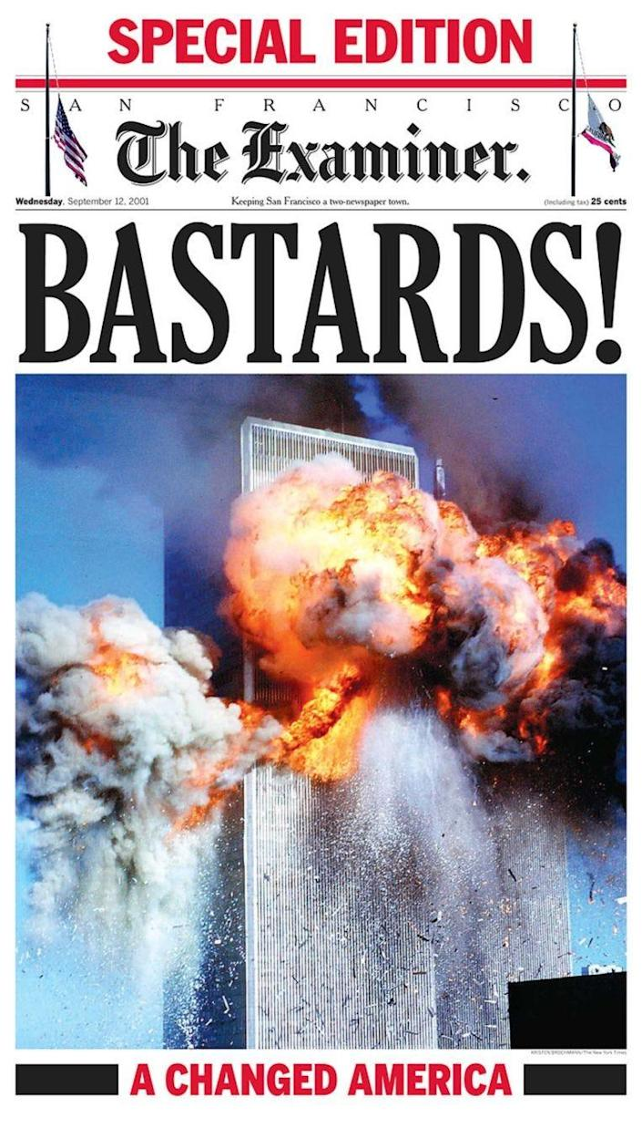 The San Francisco Examiner's front page on 12 September, 2001 (The Examiner)