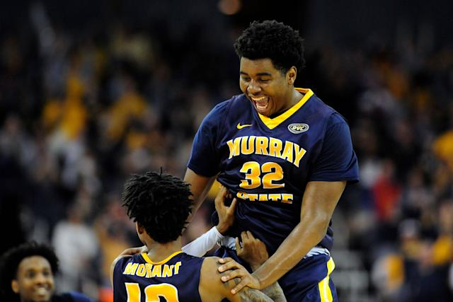 EVANSVILLE, IN - MARCH 09: Murray State Racers Forward Darnell Cowart (32) celebrates with Murray State Racers Guard Ja Morant (12) as time expires on the Ohio Valley Conference (OVC) Championship college basketball game between the Murray State Racers and the Belmont Bruins on March 9, 2019, at the Ford Center in Evansville, Indiana. (Photo by Michael Allio/Icon Sportswire via Getty Images)