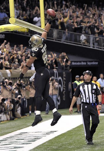 New Orleans Saints tight end Jimmy Graham (80) celebrates his touchdown reception in the first half an NFL football game at the Mercedes-Benz Superdome in New Orleans, Sunday, Nov. 11, 2012. (AP Photo/Bill Feig)