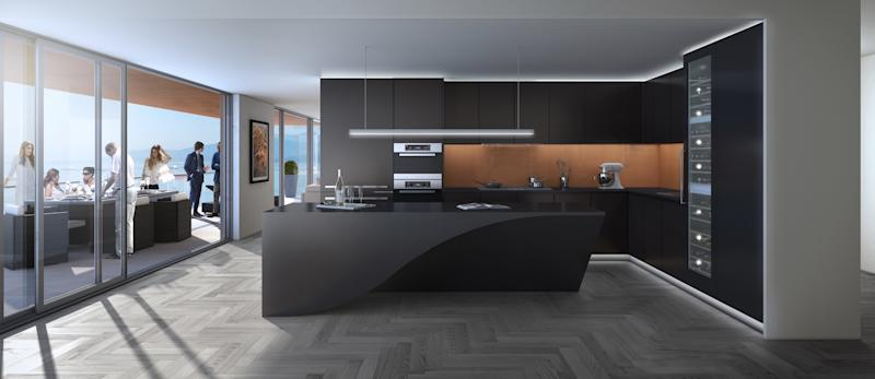 A rendering shows the interior layout of the kitchen, which is an open floor plan leading to a private outdoor patio.