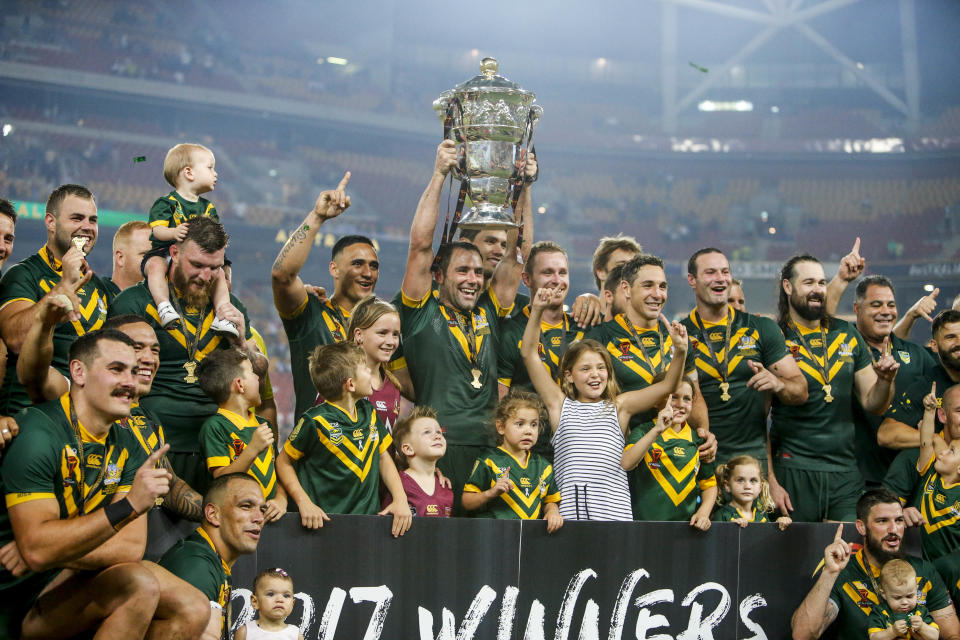The Kangaroos celebrate their win during the Rugby League World Cup final between Australia and England at Suncorp Stadium in Brisbane, Saturday, December 2, 2017. Source: AAP