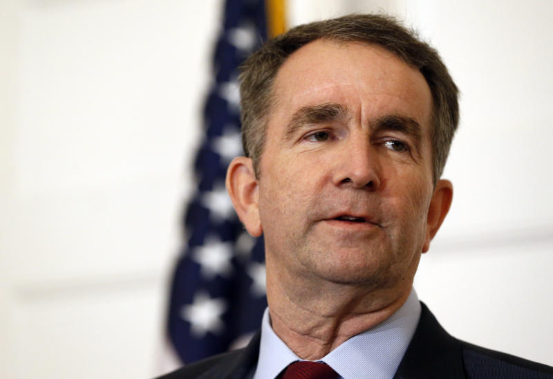 FILE - In this Feb. 2, 2019, file photo, Virginia Gov. Ralph Northam speaks during a news conference in the Governor's Mansion in Richmond, Va. A series of scandals surrounding Virginia's top Democrats has made it difficult for them to raise money in a key election year. Northam, Lt. Gov. Justin Fairfax and Attorney General Mark Herring all posted anemic campaign finance reports Monday, April 15, that are far below what their predecessors have raised at similar points in past election cycles. (AP Photo/Steve Helber, File)