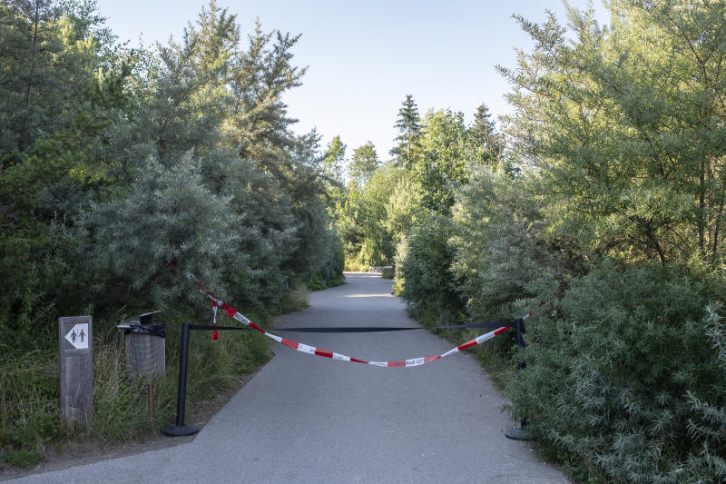 Pictured is a restricted area at the Zoo Zurich after a 55-year-old female zookeeper was killed.
