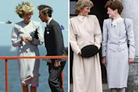 """<p>Just a year after Prince Harry was born, Prince Charles and Princess Diana embarked on their second official tour of Australia in October 1985. Princess Diana wore this striped skirt suit at least twice on the tour to attend events like the Melbourne Marathon, seen here, and on a <a href=""""https://www.gettyimages.com/detail/news-photo/diana-princess-of-wales-meets-the-crowds-in-macedon-news-photo/1178089759"""" rel=""""nofollow noopener"""" target=""""_blank"""" data-ylk=""""slk:walkabout"""" class=""""link rapid-noclick-resp"""">walkabout</a> to greet local children. </p><p>A little over two years later, Princess Diana's older sister Lady Sarah McCorquodale wore the same suit with a white pussybow blouse underneath to visit their old school in West Health on November 12, 1987.</p>"""