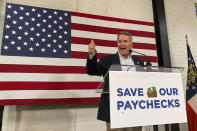 U.S. Rep Jody Hice speaks at an event in Atlanta, on Monday, Sept. 13, 2021, meant to rally opposition to President Joe Biden's economic agenda. Hice's bid for Secretary of State in Georgia has been endorsed by former President Donald Trump. (AP Photo/Jeff Amy)