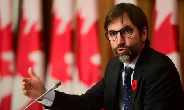 Minister of Canadian Heritage Steven Guilbeault holds a press conference in Ottawa on Tuesday, Nov. 3, 2020. (Sean Kilpatrick/The Canadian Press - image credit)
