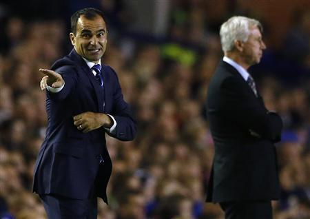 Everton's manager Martinez instructs during their English Premier League soccer match against Newcastle United in Liverpool