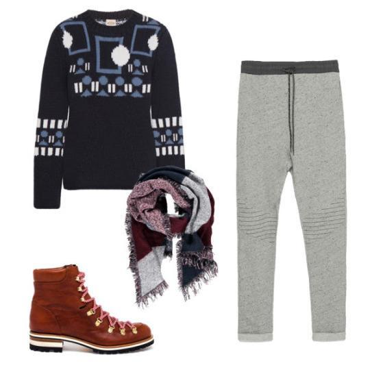 """<p><span>Intarsia Wool and Cashmere-Blend Sweater</span>, Tod's $1045<br><span>Jogging Pants</span>, Zara $23<br><span>Hiking Style Ankle Boots</span>, Rupert Sanderson $945<br><span>Diamond-Patterned Diagonal Scarf</span>, Forever 21 $18</p><p><b><i>Related: <a href=""""http://thezoereport.com/beauty/hair/genius-hack-air-dried-hair-winter/"""" rel=""""nofollow noopener"""" target=""""_blank"""" data-ylk=""""slk:The Genius Hack For Air-Dried Hair In Winter"""" class=""""link rapid-noclick-resp"""">The Genius Hack For Air-Dried Hair In Winter</a></i></b></p>"""