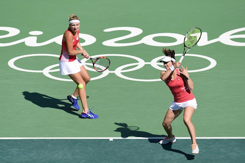 Switzerland's Martina Hingis (R) has become a doubles specialist and with partner  Timea Bacsinszky took silver at the Rio Olympic Games