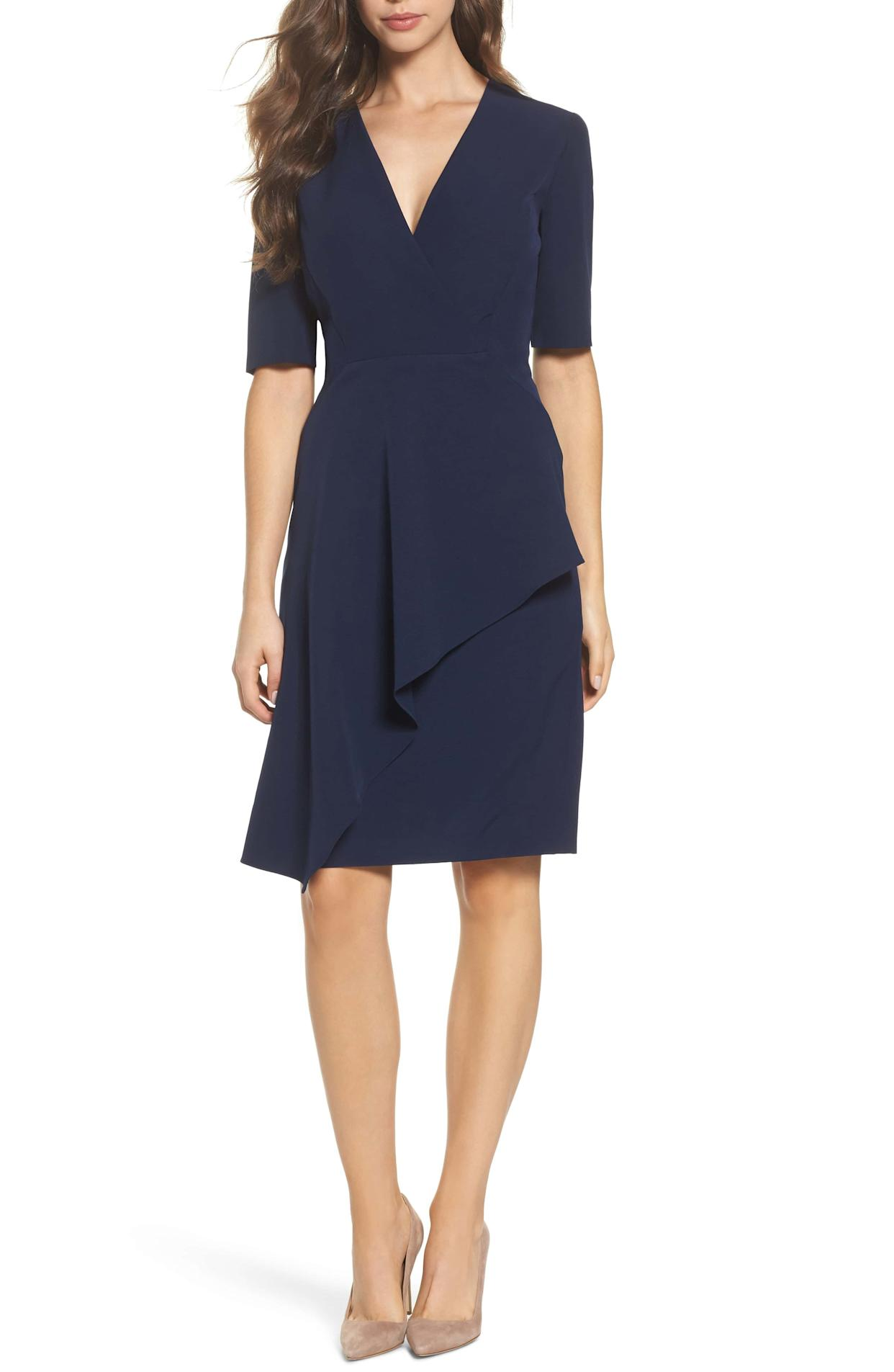 "<strong><a href=""https://shop.nordstrom.com/s/maggy-london-solid-dream-crepe-sheath-dress/5140295"" rel=""nofollow noopener"" target=""_blank"" data-ylk=""slk:Maggy London dream crepe sheath dress"" class=""link rapid-noclick-resp"">Maggy London dream crepe sheath dress</a>, $138</strong>"