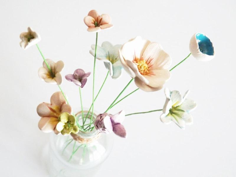 Ceramic flowers in a vase