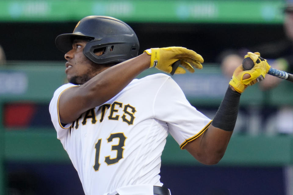 Pittsburgh Pirates' Ke'Bryan Hayes follows through on a two-run home run off Miami Marlins starting pitcher Cody Poteet during the first inning of a baseball game in Pittsburgh, Friday, June 4, 2021. (AP Photo/Gene J. Puskar)