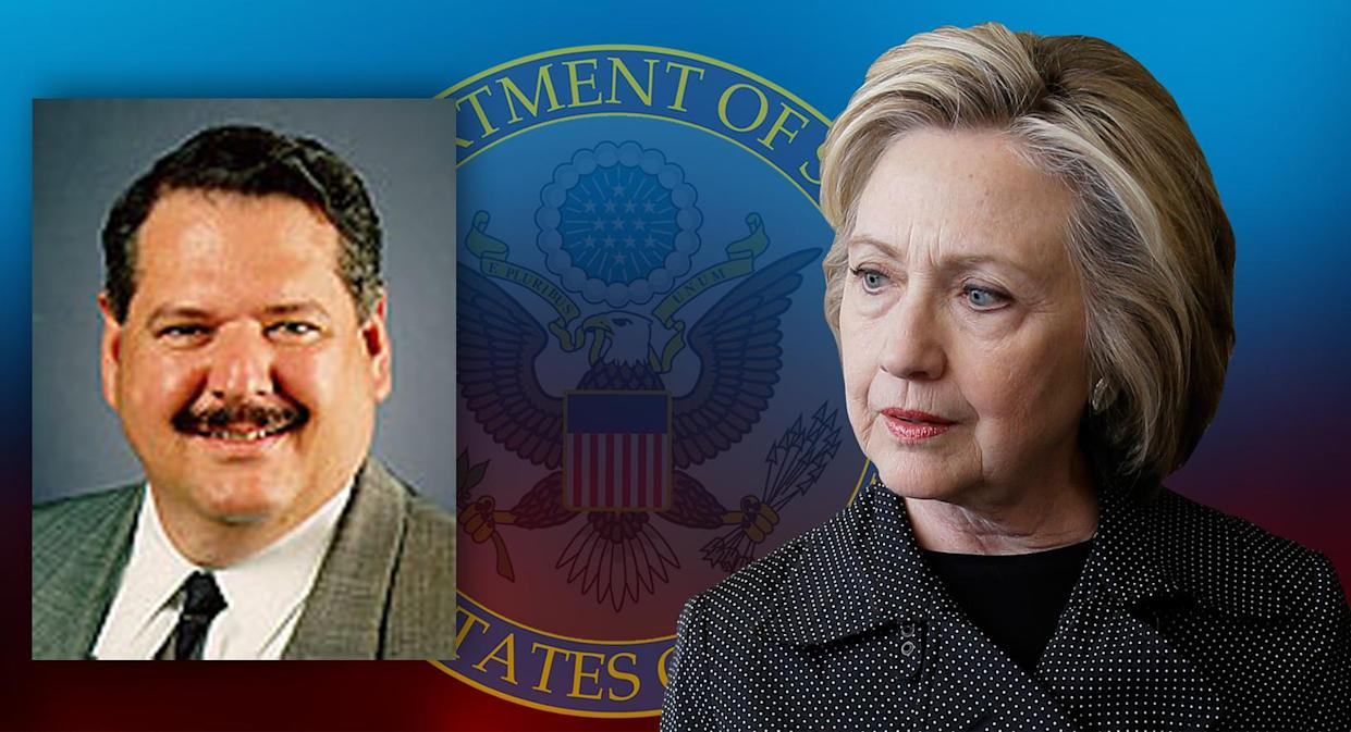 John Bentel, left, now the focus of the Clinton email probe; and Hillary Clinton. (Photos: State Department, AP)