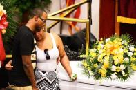 FILE PHOTO: Emerald Garner mourns next to the coffin of her father Eric Garner during his funeral at Bethel Baptist Church in Brooklyn New York