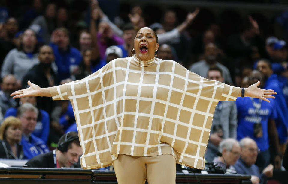 FILE - In this March 10, 2018, file photo, Buffalo head coach Felisha Legette-Jack reacts to a foul call during the second half of an NCAA college basketball game against Central Michigan in the championship of the Mid-American Conference tournament, in Cleveland. Legette-Jack was thankful to be given a second chance. Most African-American women's basketball head coaches don't get that opportunity. (AP Photo/Ron Schwane, File)