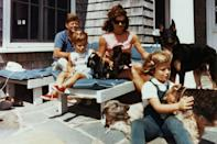 <p>The first family surrounded by dogs at their Hyannis Port home. </p>