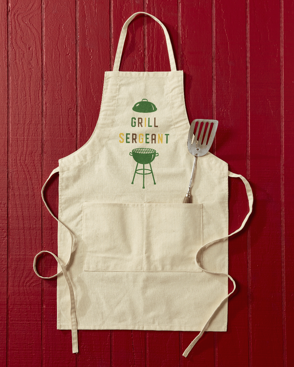"""<p>countryliving.com</p><p><strong>$28.00</strong></p><p><a href=""""https://shop.countryliving.com/grill-sergeant-apron.html"""" rel=""""nofollow noopener"""" target=""""_blank"""" data-ylk=""""slk:Shop Now"""" class=""""link rapid-noclick-resp"""">Shop Now</a></p><p>Show your Father-In-Law how much you love his brisket with this canvas apron that will become his new grilling uniform. </p>"""