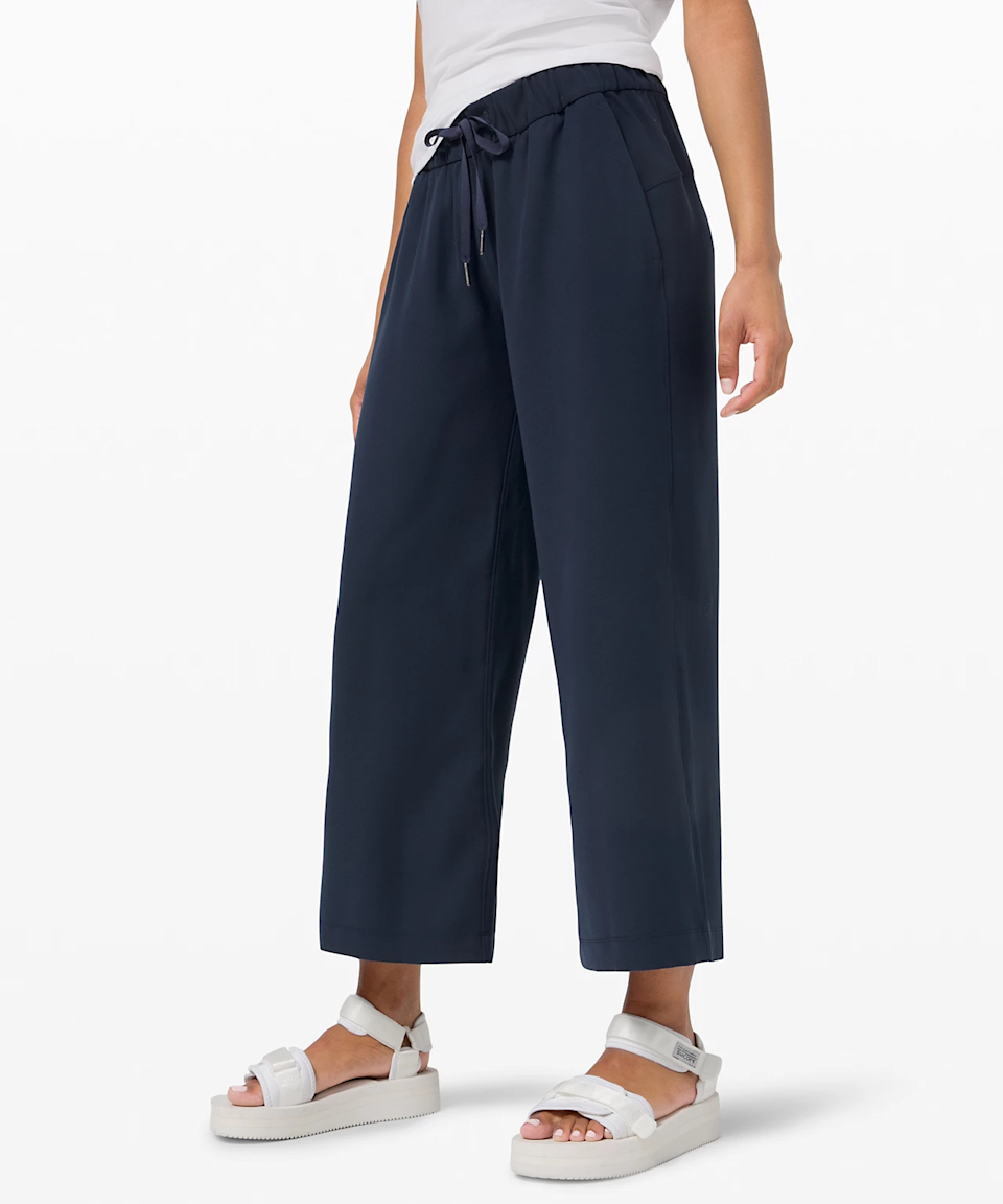 """<h3><a href=""""https://shop.lululemon.com/"""" rel=""""nofollow noopener"""" target=""""_blank"""" data-ylk=""""slk:lululemon"""" class=""""link rapid-noclick-resp"""">lululemon</a></h3><br><strong>Dates: </strong>Limited time<br><strong>Sale: </strong>We Made Too Much<br><strong>Promo Code</strong>: None<br><br>Just because Lululemon's warehouse sale is over doesn't mean you can't longingly haunt the brand's """"<a href=""""https://shop.lululemon.com/c/women/_/N-1z13zi2Z7vf?mnid=mn;en-US-JSON;women;we-made-too-much"""" rel=""""nofollow noopener"""" target=""""_blank"""" data-ylk=""""slk:We Made Too Much"""" class=""""link rapid-noclick-resp"""">We Made Too Much</a>"""" section for ongoing deals on what they've overproduced. We're biding our time until next year with finds like these perfect wide-leg cropped pants. <br><br><strong>lululemon</strong> On the Fly Wide-Leg 7/8 Pant, $, available at <a href=""""https://go.skimresources.com/?id=30283X879131&url=https%3A%2F%2Fshop.lululemon.com%2Fp%2Fwomens-trousers%2FOn-The-Fly-Pant-Wide-Leg-78-MD%2F_%2Fprod9610124"""" rel=""""nofollow noopener"""" target=""""_blank"""" data-ylk=""""slk:lululemon"""" class=""""link rapid-noclick-resp"""">lululemon</a>"""