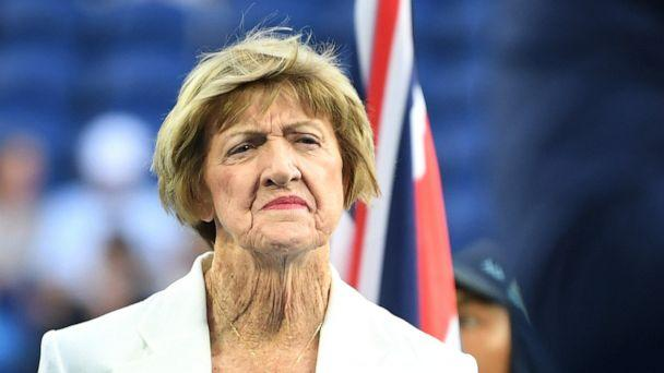 PHOTO: Margaret Court looks on during a Tennis Hall of Fame ceremony on day nine of the 2020 Australian Open at Melbourne Park on Jan. 28, 2020 in Melbourne, Australia.  (Morgan Hancock/Getty Images, FILE)