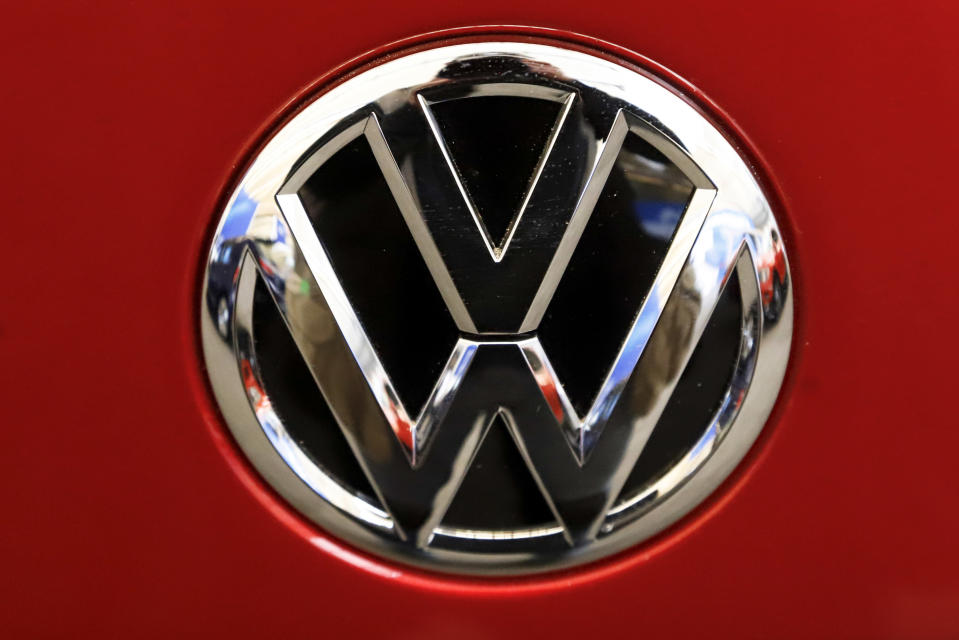 FILE - This Feb. 14, 2019, file photo, shows the Volkswagen logo on an automobile at the 2019 Pittsburgh International Auto Show in Pittsburgh. Volkswagen is recalling more than 218,000 Jetta sedans in the U.S. to fix a fuel leak problem that can cause fires. The recall covers certain cars from the 2016 through 2018 model years. (AP Photo/Gene J. Puskar, File)
