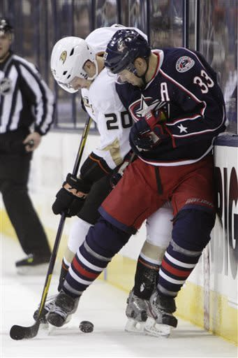 Anaheim Ducks' David Steckel, left, and Columbus Blue Jackets' Adrian Aucoin fight for a loose puck during the first period of an NHL hockey game Sunday Mar. 31, 2013, in Columbus, Ohio. (AP Photo/Jay LaPrete)