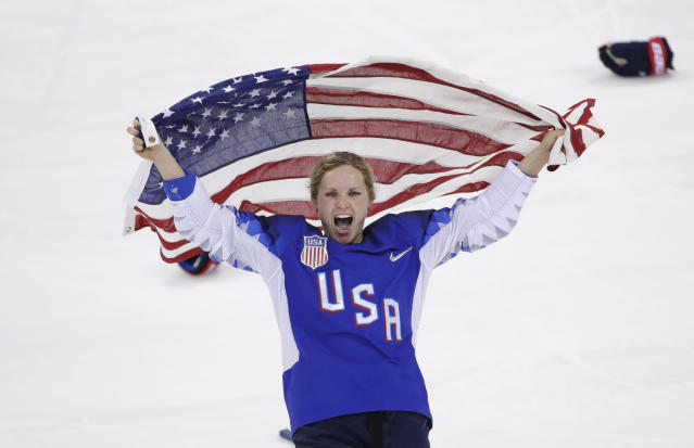<p>Jocelyne Lamoureux-Davidson (17), of the United States, celebrates after winning against Canada in the women's gold medal hockey game at the 2018 Winter Olympics in Gangneung, South Korea, Thursday, Feb. 22, 2018. (AP Photo/Matt Slocum) </p>