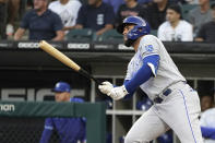 Kansas City Royals Emmanuel Rivera watches his two-run double off Chicago White Sox starting pitcher Dallas Keuchel during the first inning of a baseball game Thursday, Aug. 5, 2021, in Chicago. (AP Photo/Charles Rex Arbogast)