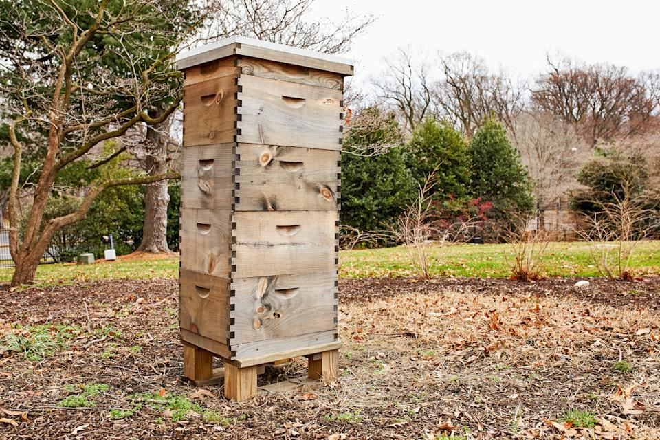 The Pence family added a beehive, shown here.