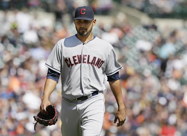 Cleveland Indians starting pitcher Danny Salazar walks back to the dugout after being relieved during the fifth inning of a baseball game against the Detroit Tigers in Detroit, Thursday, April 17, 2014. (AP Photo/Carlos Osorio)