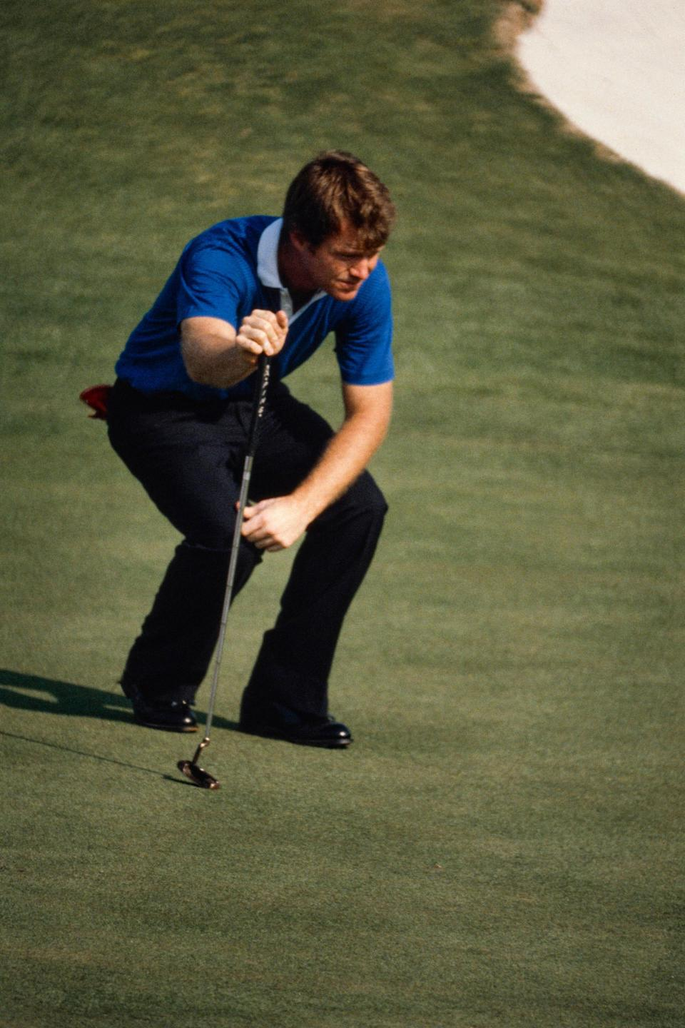 Tom Watson lining up a putt at Augusta National on Friday, April 10, 1981.