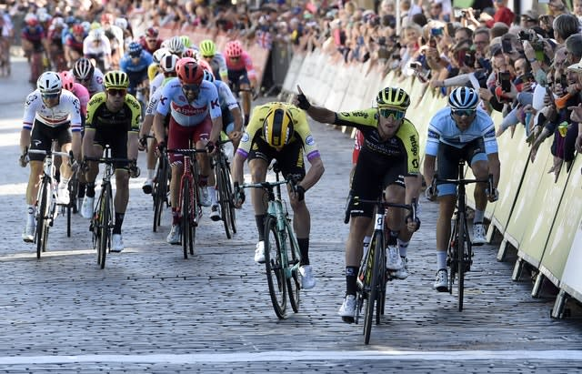 Mitchelton-Scott's Matteo Trentin (second right) wins stage two of the OVO Energy Tour of Britain (Ian Rutherford/PA)