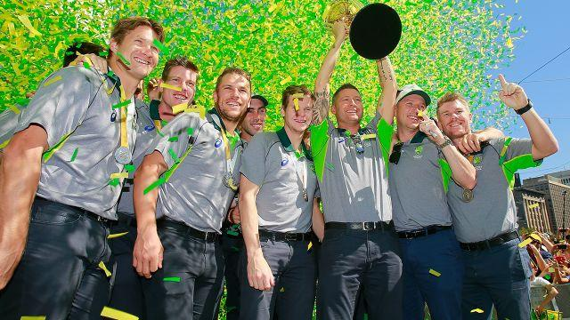 The Aussies with the trophy the day after. Image: Getty