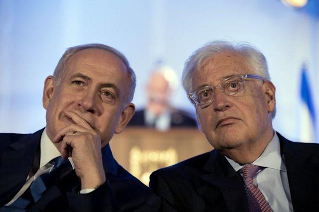 Israeli Prime Minister Benjamin Netanyahu, left, and David Friedman the new U.S. ambassador to Israel, attend a ceremony celebrating the 50th anniversary of the liberation and unification of Jerusalem, in front of the walls of the Old City of Jerusalem, May 21, 2017. (Photo: Abir Sultan/Pool Photo via AP)