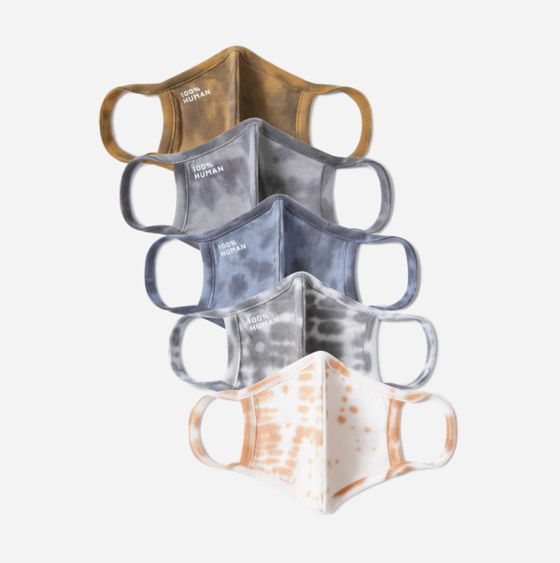 Everlane's 100% Human Face Mask Pack in Neutral Tie-Dye (Photo via Everlane)