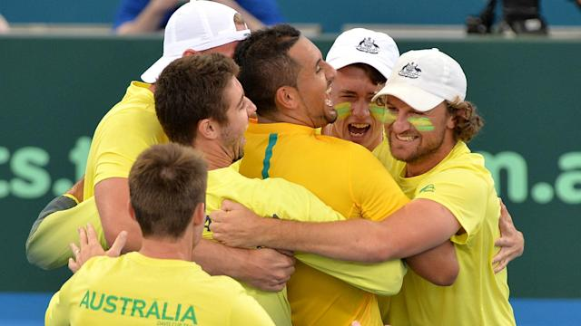 Belgium and Australia completed the Davis Cup semi-final line-up on Sunday thanks to wins from Nick Kyrgios and David Goffin.