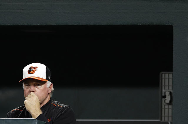 Baltimore Orioles manager Buck Showalter stands in the dugout in the third inning of a baseball game against the Toronto Blue Jays, Monday, Sept. 17, 2018, in Baltimore. (AP Photo/Patrick Semansky)
