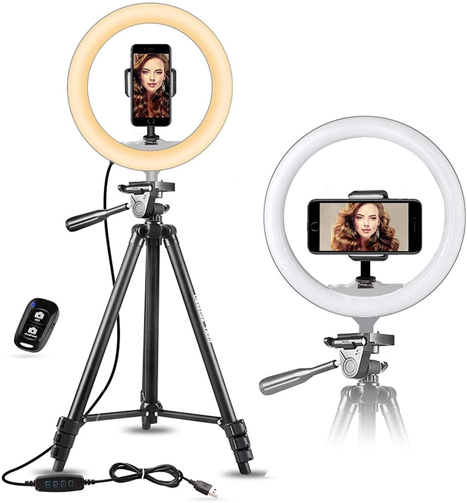 """<p>The <span>UBeesize 10"""" Selfie Ring Light With 50"""" Extendable Tripod Stand &amp; Flexible Phone Holder</span> ($36) is the No. 1 bestselling ring light phone holder. Create the best TikToks with this handy tool.</p>"""
