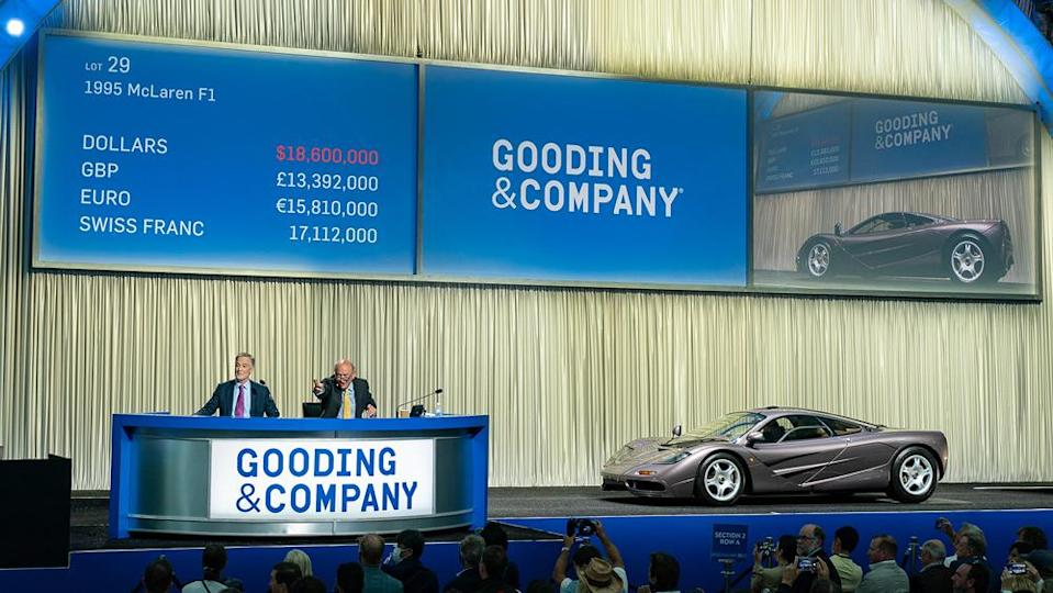This 1995 McLaren F1 that went under the hammer for .46 million at Gooding & Company's Monterey auction. - Credit: Photo by Jensen Sutta, courtesy of Gooding & Company.