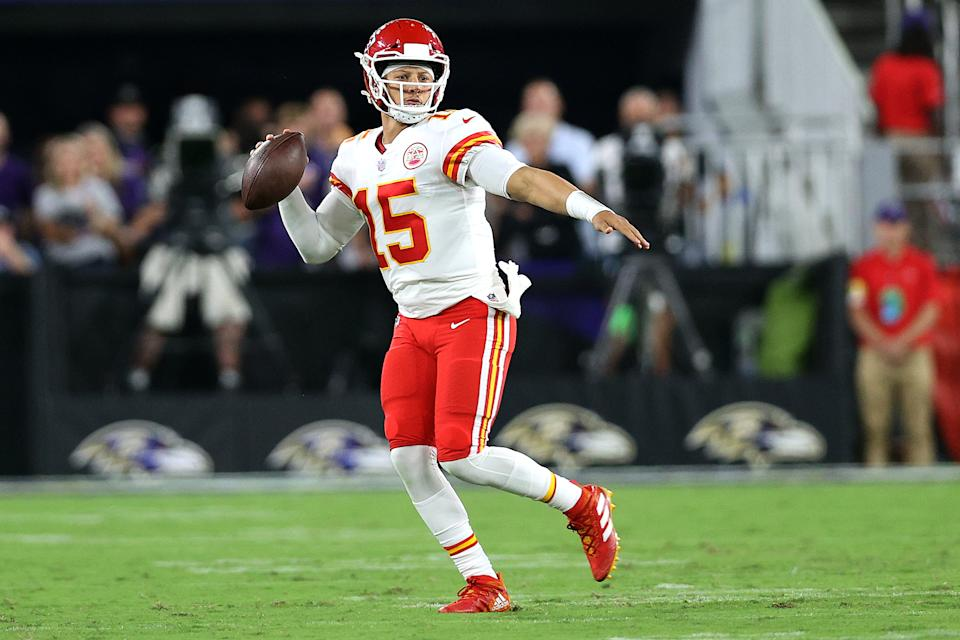 BALTIMORE, MARYLAND - SEPTEMBER 19: Quarterback Patrick Mahomes #15 of the Kansas City Chiefs drops back to pass against the Baltimore Ravens at M&T Bank Stadium on September 19, 2021 in Baltimore, Maryland. (Photo by Rob Carr/Getty Images)