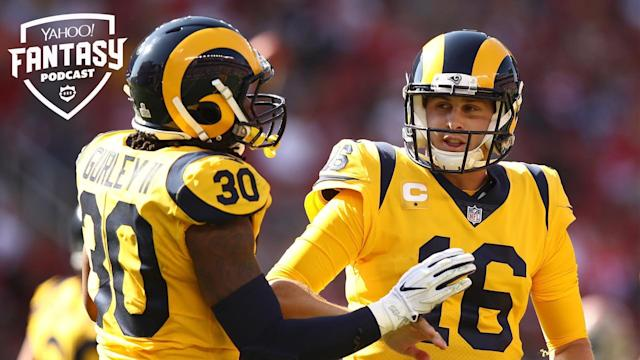 "Todd Gurley #30 and Jared Goff #16 of the Los Angeles Rams celebrate after a touchdown against the <a class=""link rapid-noclick-resp"" href=""/nfl/teams/san-francisco/"" data-ylk=""slk:San Francisco 49ers"">San Francisco 49ers</a>. Liz Loza & Matt Harmon discuss the Rams' long term plans on the Yahoo Fantasy Football Podcast. (Photo by Ezra Shaw/Getty Images)"