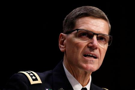 U.S. Army General Joseph Votel, commander of the U.S. Central Command, testifies before the Senate Armed Services Committee on Capitol Hill in Washington, U.S., March 13, 2018. REUTERS/Aaron P. Bernstein
