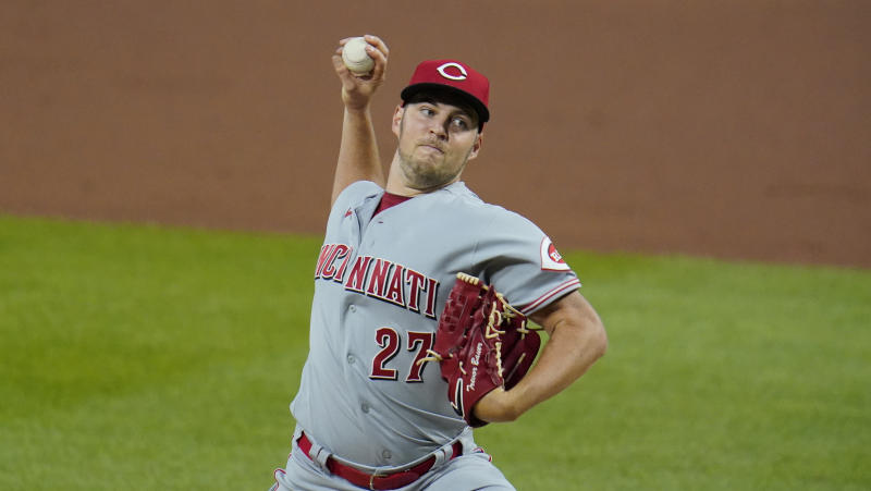 Cincinnati Reds starting pitcher Trevor Bauer delivers during the fourth inning of the second baseball game of a double header against the Pittsburgh Pirates in Pittsburgh, Friday, Sept. 4, 2020. The Pirates won 4-3. (AP Photo/Gene J. Puskar)