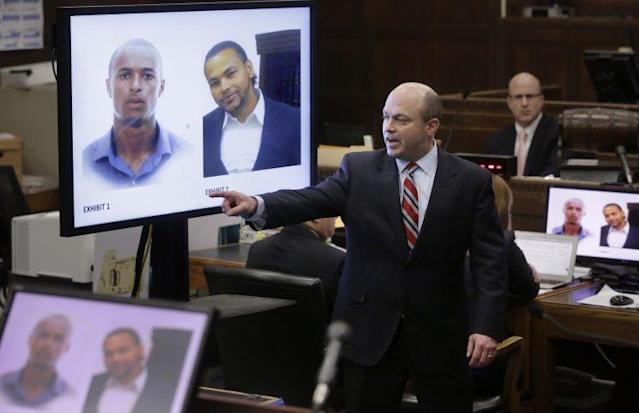 Assistant district attorney Patrick Haggan makes his closing arguments in the double murder trial for Aaron Hernandez as images of murder victims Safiro Furtado, top left, and Daniel de Abreu, top right, are projected before the court on Thursday. (AP)