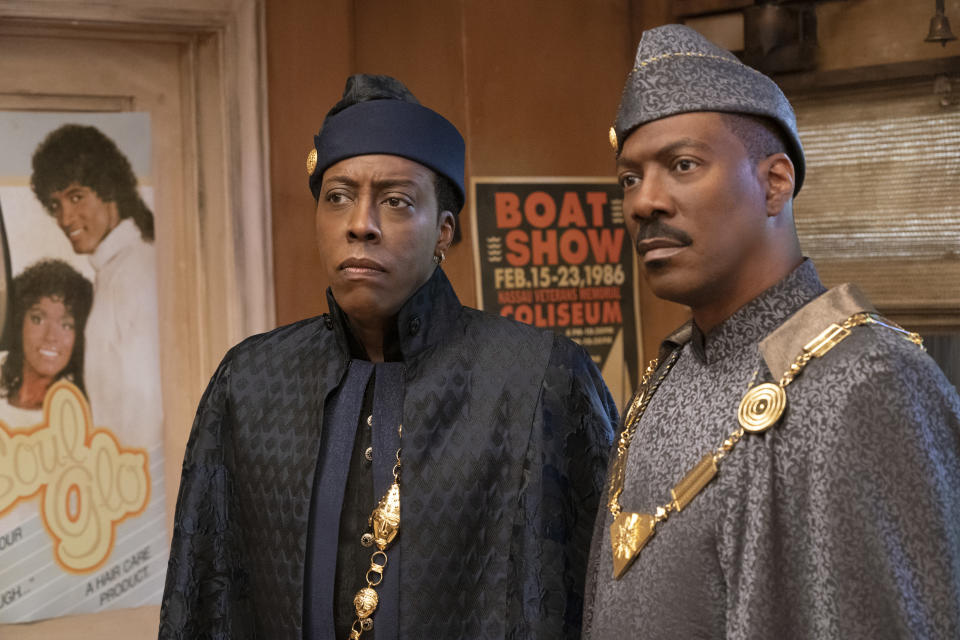 Arsenio Hall and Eddie Murphy star in the long-awaited sequel, 'Coming 2 America' (Photo: Quantrell D. Colbert/Paramount Pictures)