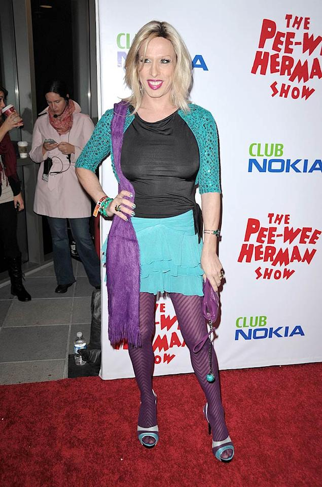 """Meanwhile, Alexis Arquette strutted her stuff down the arrivals line in a loud ensemble, which featured some fierce heels. John Shearer/<a href=""""http://www.wireimage.com"""" target=""""new"""">WireImage.com</a> - January 20, 2010"""