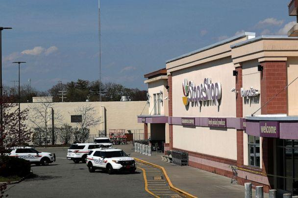 PHOTO: Police cars are seen on the site of a shooting, at a Stop and Shop grocery store, in West Hempstead, N.Y., April 20, 2021. (Shannon Stapleton/Reuters)