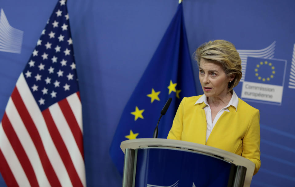 European Commission President Ursula von der Leyen addresses a media conference with U.S. Secretary of State Antony Blinken at EU headquarters in Brussels on Wednesday, March 24, 2021. (AP Photo/Virginia Mayo, Pool)