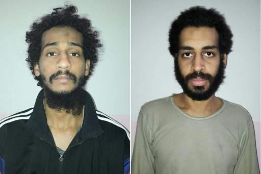 A combination photo based on two handout images provided by the Syrian Democratic Forces (SDF) in February 2018 shows captured British Islamic State (IS) group fighters El Shafee el-Sheikh (left) and Alexanda Kotey (right), in an undisclosed location